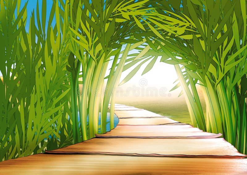 Bamboo grove. Highly detailed cartoon background 03 - illustration stock illustration