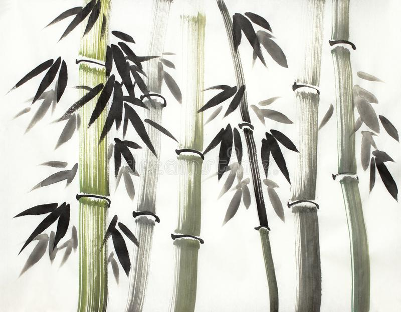 Bamboo grove. Chinese-style bamboo on a light background vector illustration
