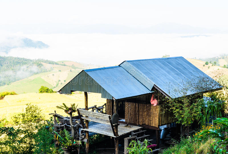 BAMBOO HOUSE ON THE MOUNTAIN Royalty Free Stock Photo