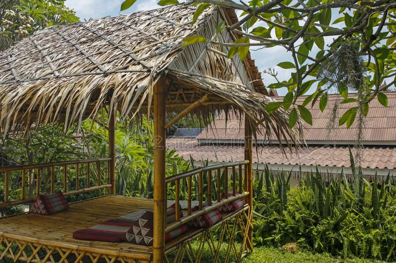 Bamboo hut in the garden. Relaxing bamboo hut in the garden stock images