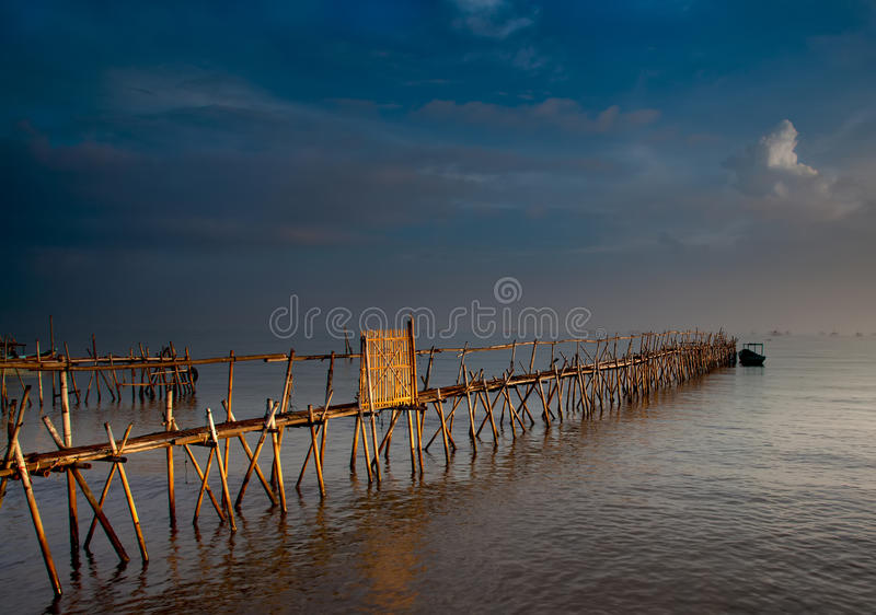 Bamboo Jetty. This shot is of a bamboo jetty at dawn at Tanjung Kait in Banten, Indonesia stock photography
