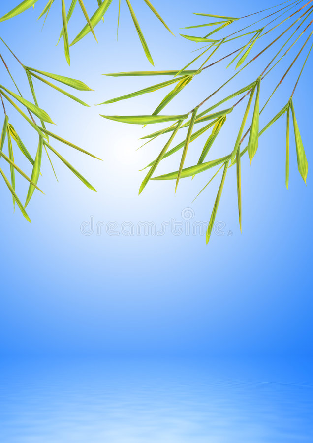 Bamboo Leaf Grass over Water. Bamboo leaf grass abstract with reflection over water, set against a blue sky background with white glow stock illustration