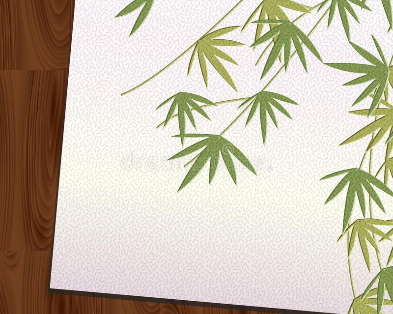 Download Bamboo Leaf Imprint Japanese Paper Put On Wood Stock Illustration - Illustration: 24899556