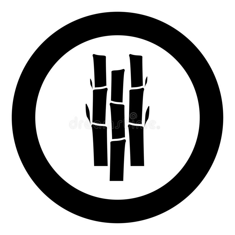 Bamboo with leafs Nature plant icon in circle round black color vector illustration flat style image. Bamboo with leafs Nature plant icon in circle round black stock illustration