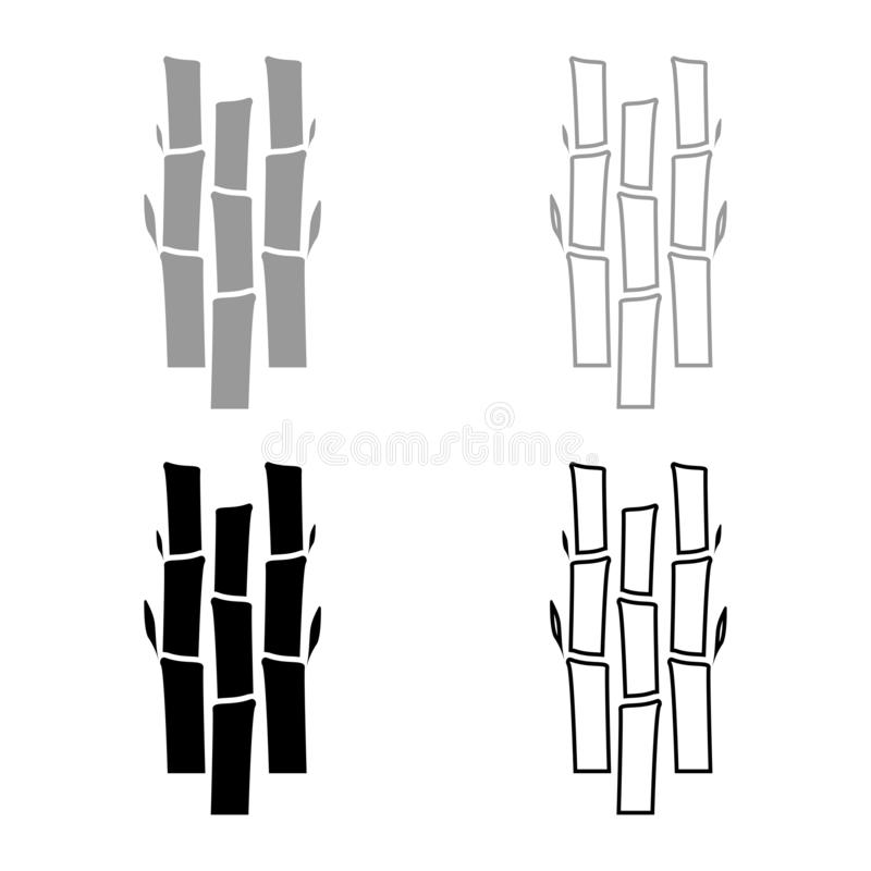 Bamboo with leafs Nature plant icon set black color vector illustration flat style image. Bamboo with leafs Nature plant icon set black color vector illustration stock illustration