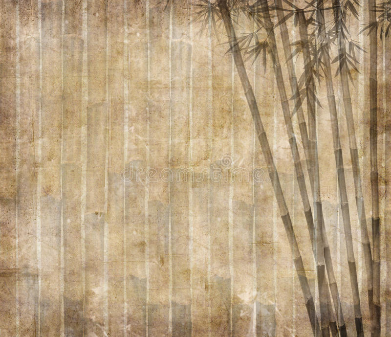 Bamboo leaves on old grunge paper stock illustration