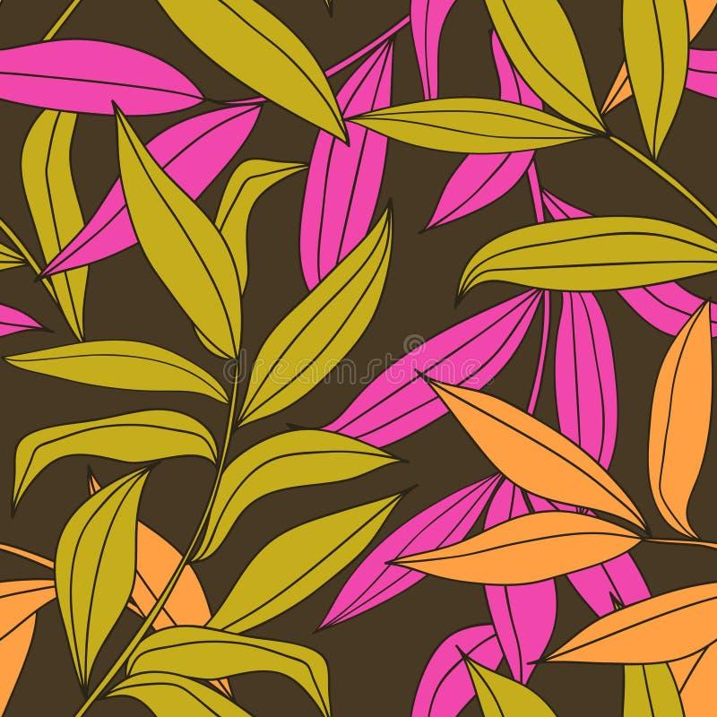 Bamboo leaves seamless pattern vector illustration