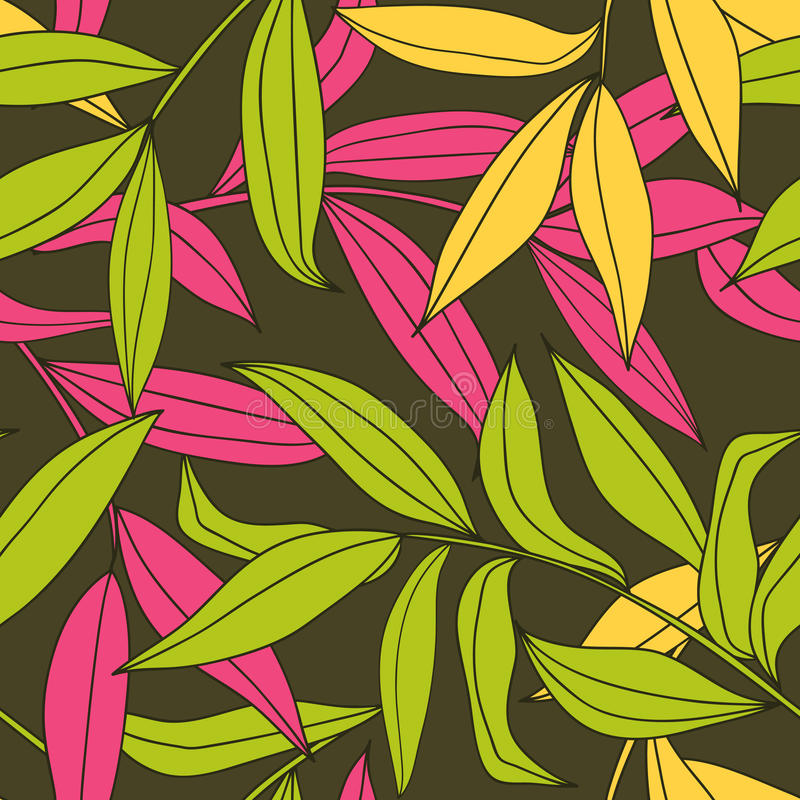 Bamboo leaves seamless pattern royalty free illustration