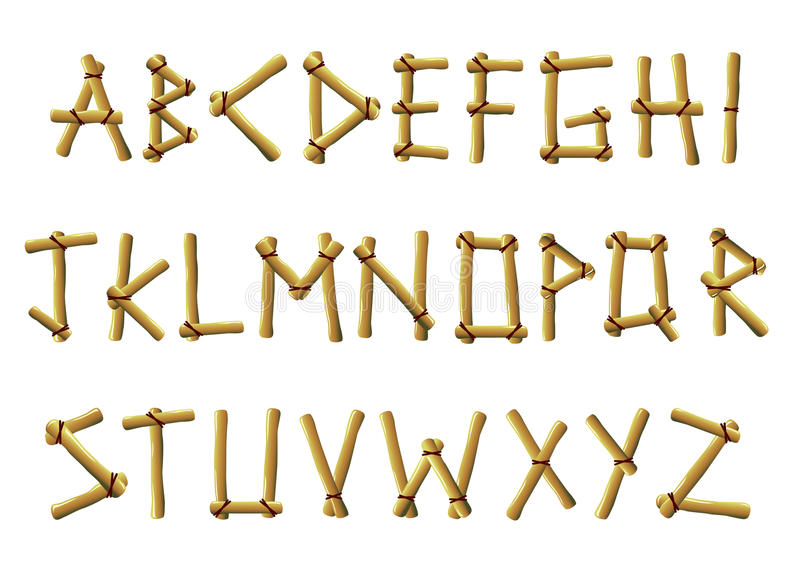 Bamboo letters. Illustrated set of bamboo letters