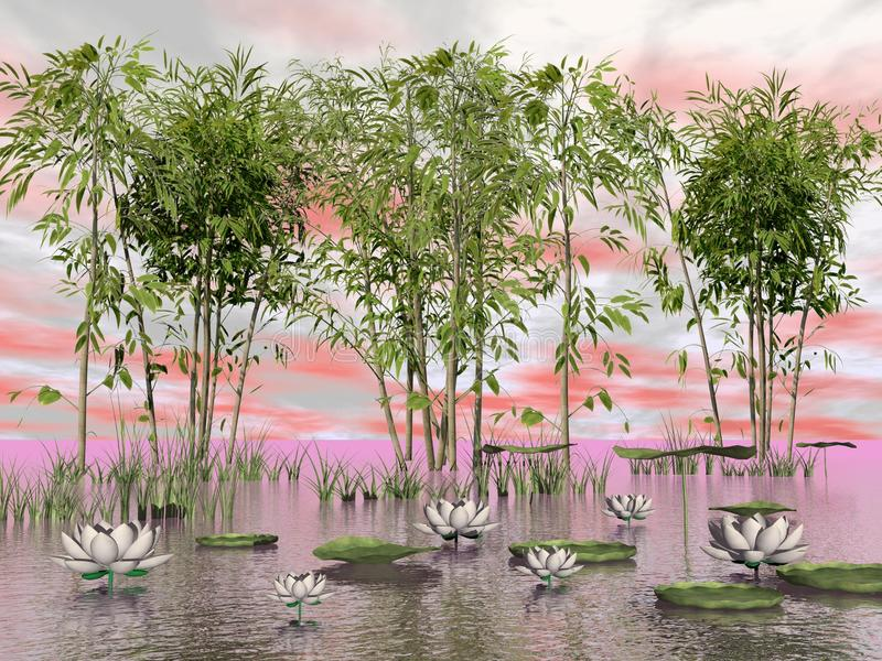 Download Bamboo And Lily Flowers - 3D Render Stock Illustration - Illustration of nature, graphic: 43703902