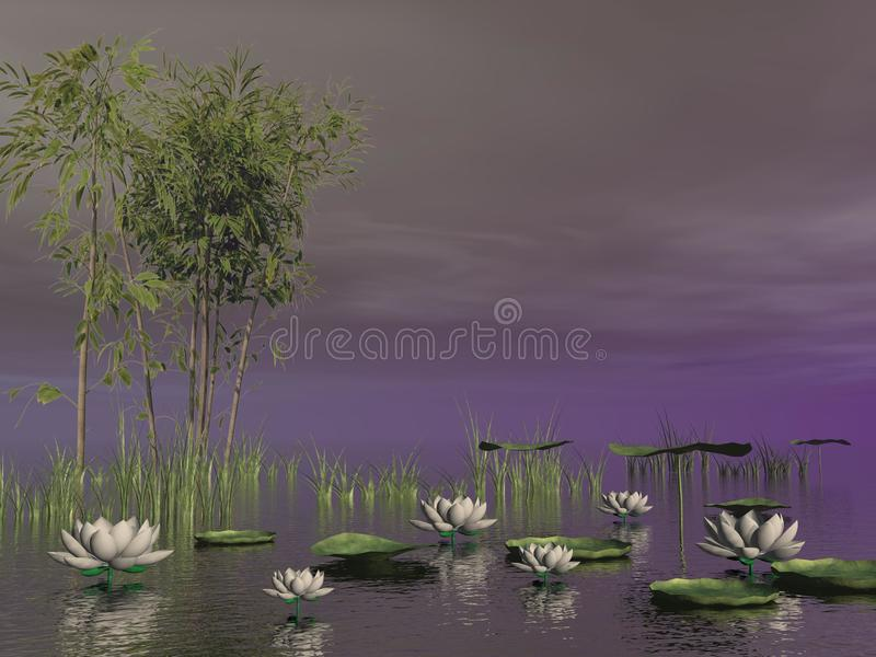 Bamboo And Lily Flowers - 3D Render Stock Illustration