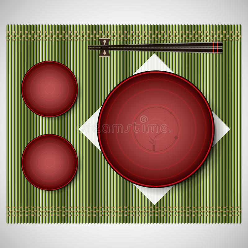 Bamboo mat with plates and chopsticks setting for lunch vector illustration