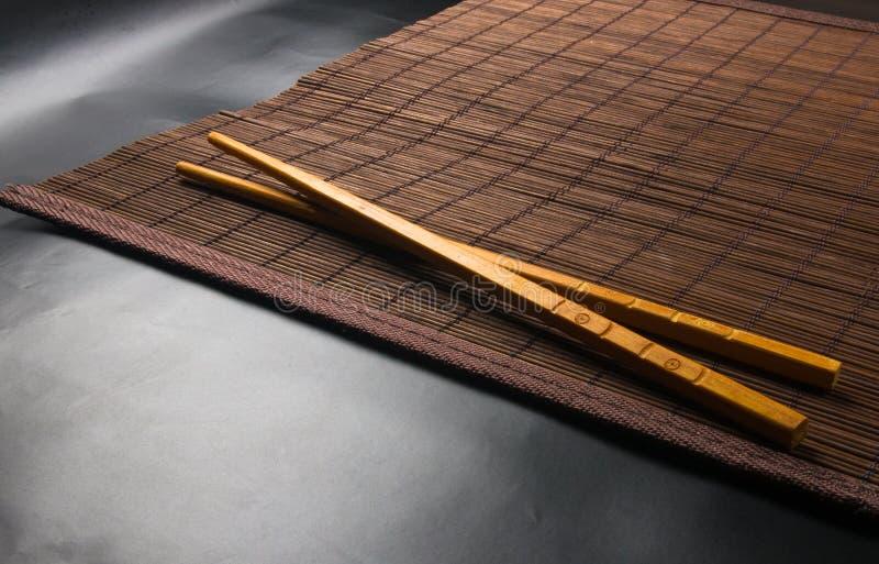 bamboo Mat - stand food stock image