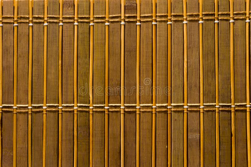 Bamboo Mat - stand food, close-up, wooden background. Brown bamboo Mat - stand food, close-up, macro, wooden background stock image