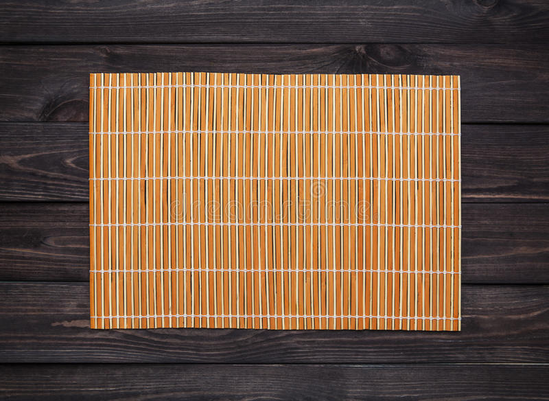 Bamboo Mat On A Wooden Table, Top View Stock Photo - Image