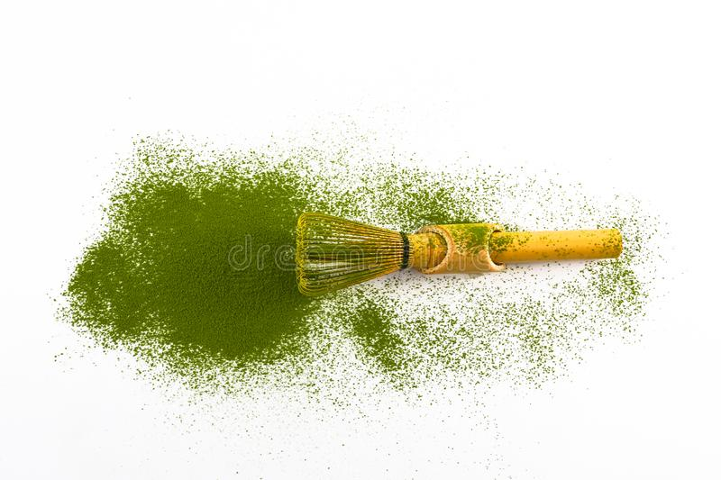 Bamboo matcha whisk with matcha. Bamboo matcha whisk in perfect shape with matcha stock photos