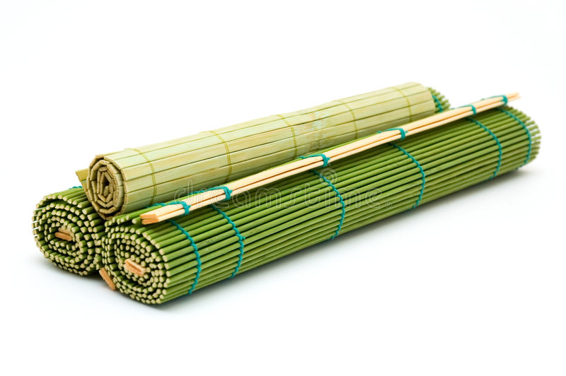 Bamboo mats. Curtailed bamboo mats. green color royalty free stock image