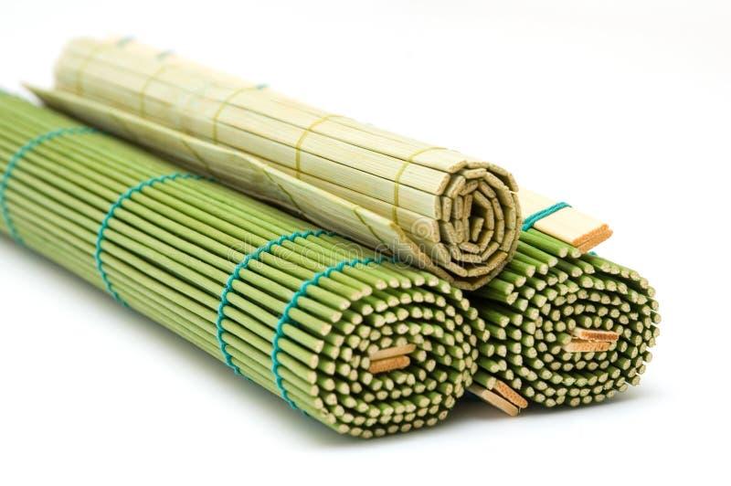 Bamboo mats. Curtailed bamboo mats. green color stock image