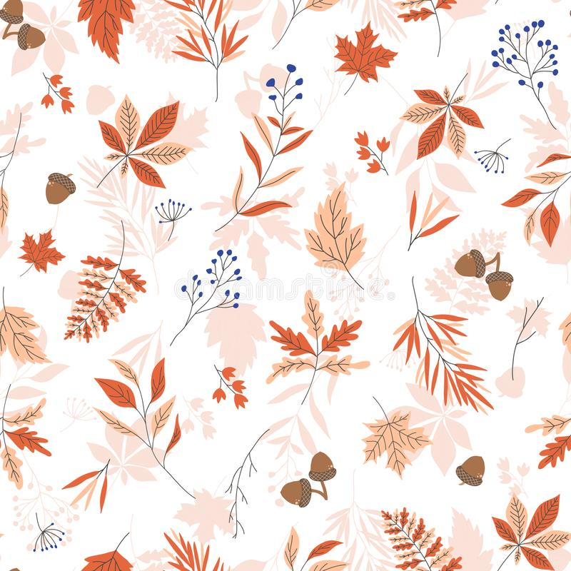Autumn leaves seamless vector pattern with white textured background. royalty free illustration