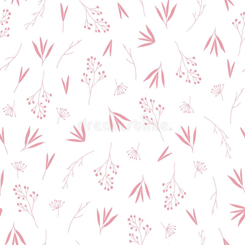 Delicate pink fall autumn leaves seamless pattern vector illustration