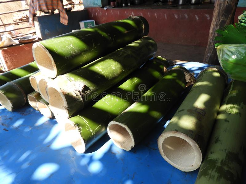 Bamboo pieces used to make bamboo chicken or bamboo chicken biryani kept for sale. Bamboo pieces used to make bamboo chicken or bamboo chicken biryani: a royalty free stock photos