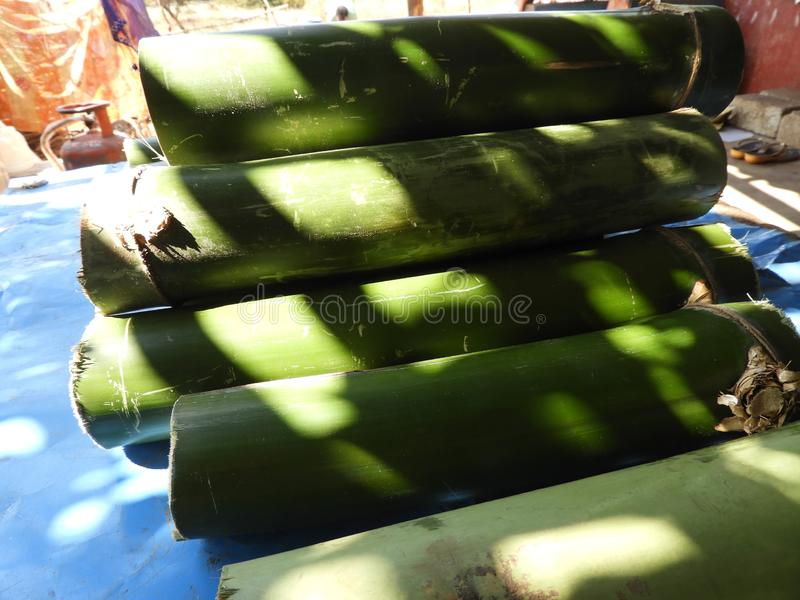 Bamboo pieces used to make bamboo chicken or bamboo chicken biryani kept for sale. Bamboo pieces used to make bamboo chicken or bamboo chicken biryani: a stock image