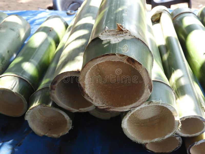 Bamboo pieces used to make bamboo chicken or bamboo chicken biryani kept for sale. Bamboo pieces used to make bamboo chicken or bamboo chicken biryani: a royalty free stock photography