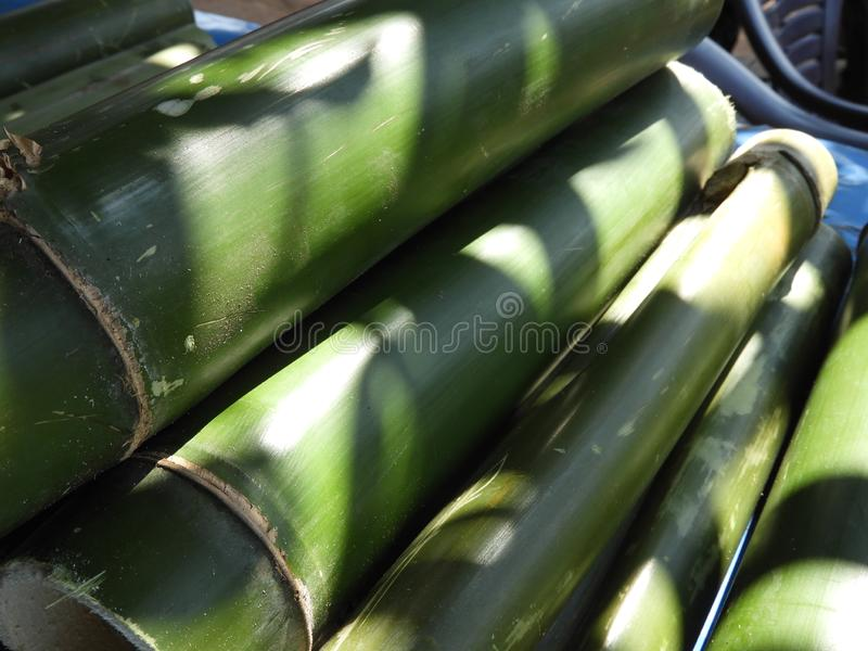 Bamboo pieces used to make bamboo chicken or bamboo chicken biryani kept for sale. Bamboo pieces used to make bamboo chicken or bamboo chicken biryani: a royalty free stock image