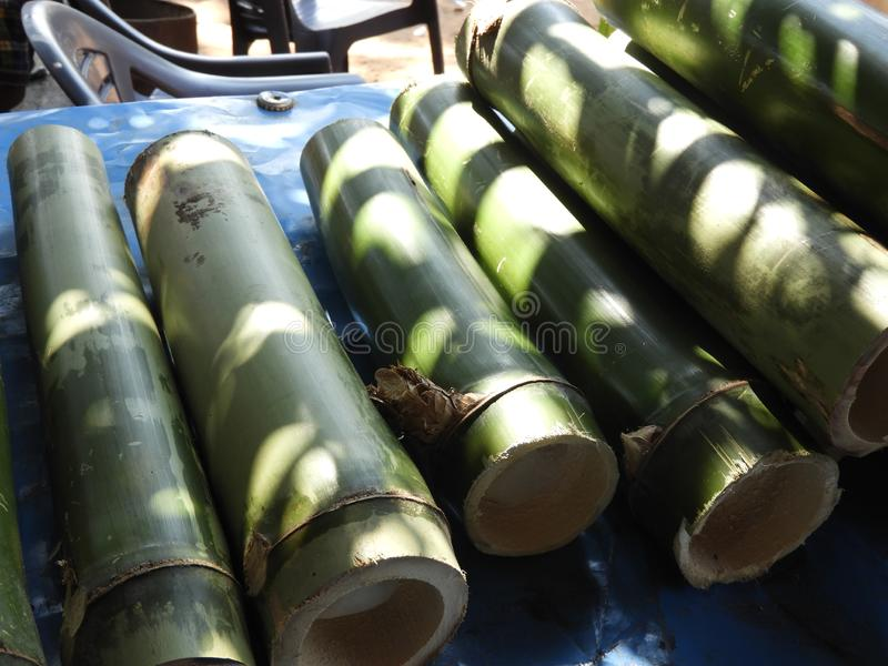 Bamboo pieces used to make bamboo chicken or bamboo chicken biryani kept for sale. Bamboo pieces used to make bamboo chicken or bamboo chicken biryani: a royalty free stock images