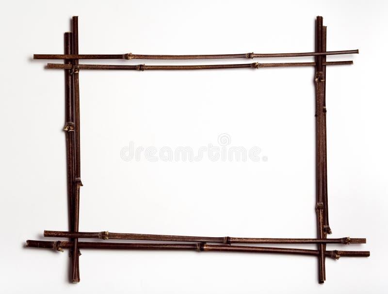 Bamboo poles frame w/copyspace stock photos