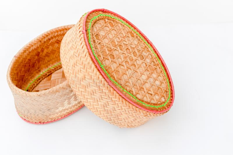 Bamboo product for sticky rice in Thailand stock image