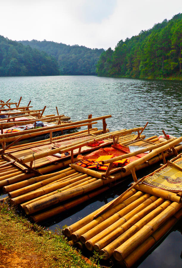 Bamboo raft royalty free stock photo