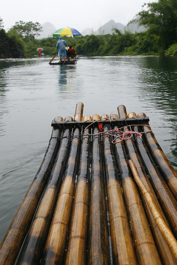 Bamboo Raft Excursion Along Li River royalty free stock photo