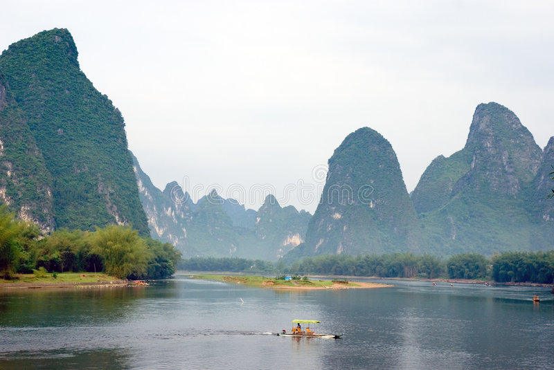 Bamboo raft on the Li river royalty free stock photography