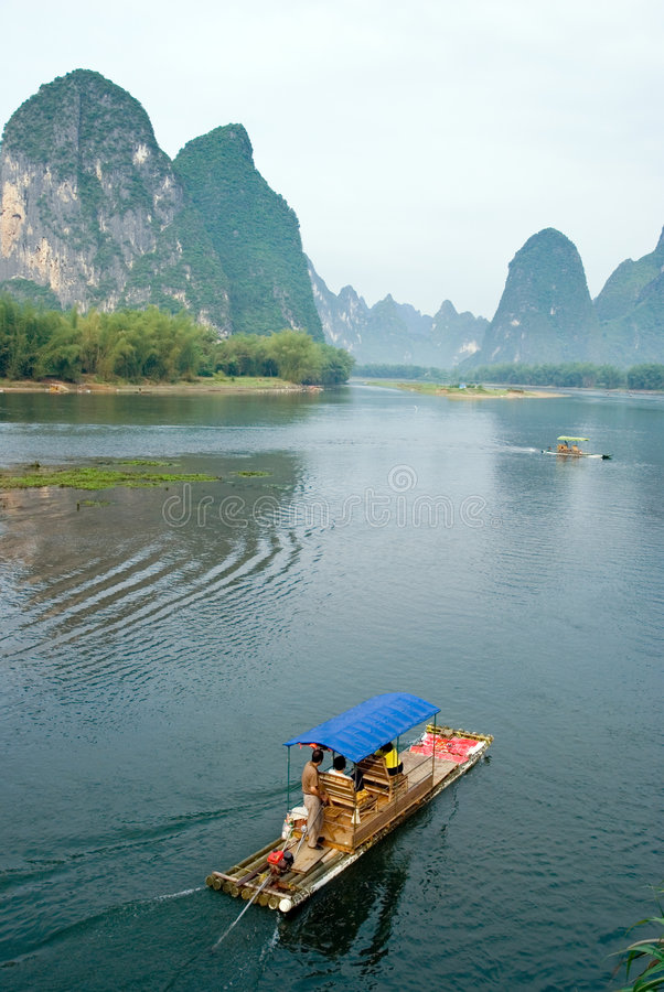 Bamboo raft on the Li river royalty free stock photo