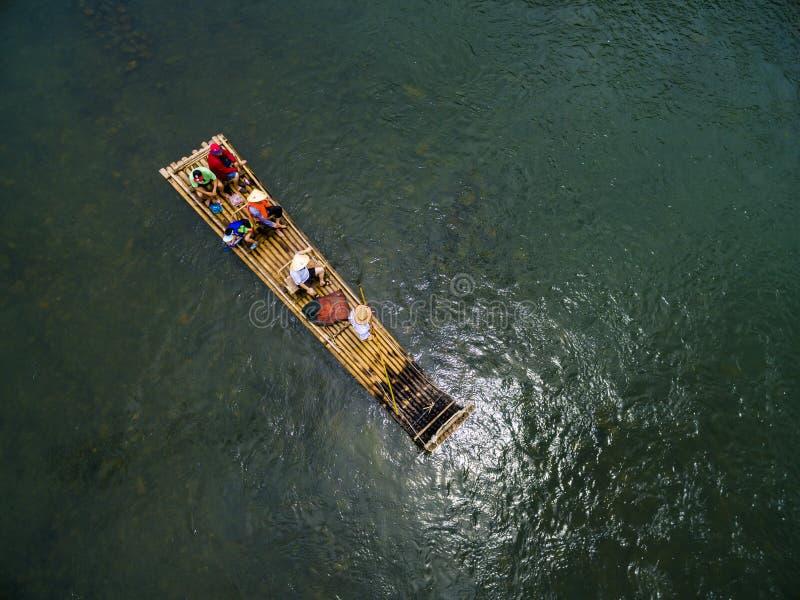Bamboo raft on the Lijiang River in Guilin, Guangxi royalty free stock photos