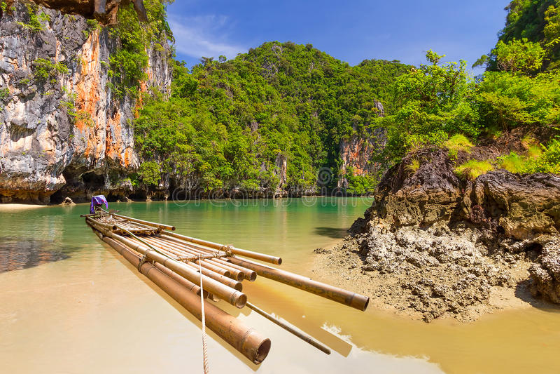 Bamboo Raft In The Phang Nga Bay Royalty Free Stock Photos