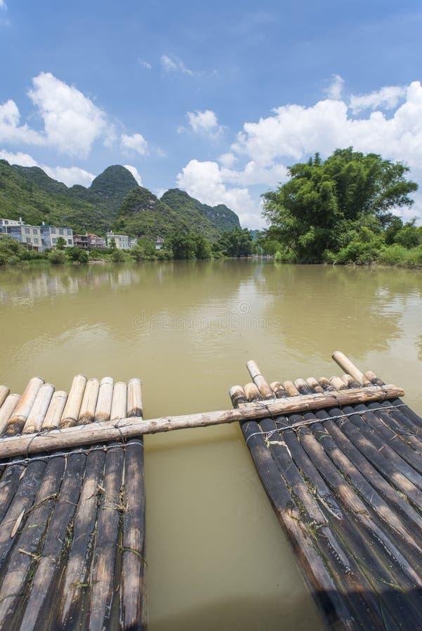 Bamboo rafting li river china royalty free stock photo