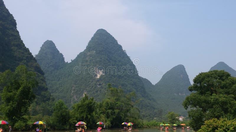 Bamboo rafting on the Li River royalty free stock photo