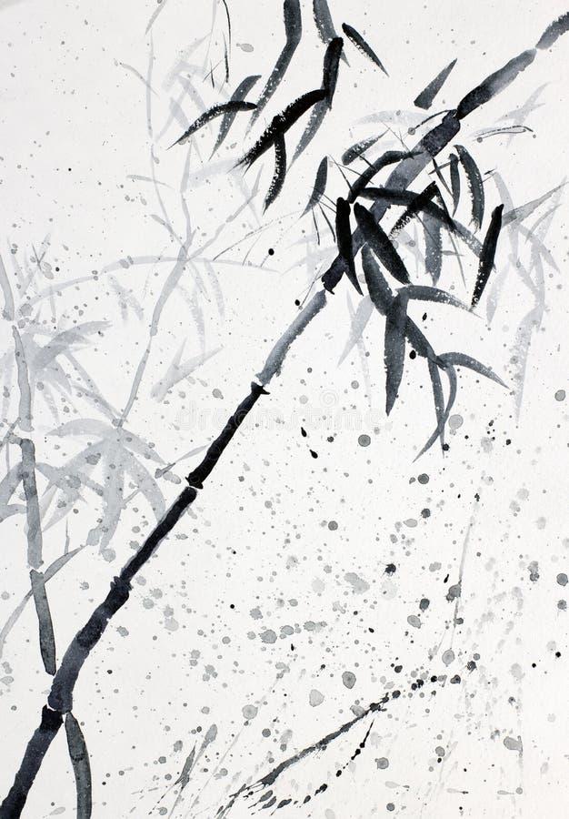 Bamboo in the rain stock illustration