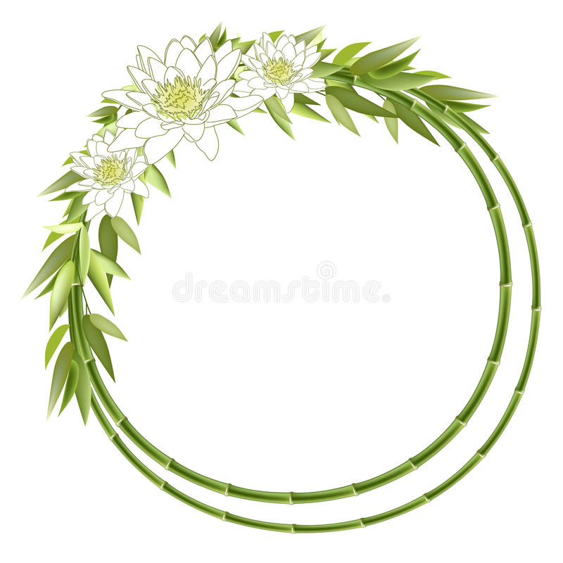 Bamboo round frame with flowers vector illustration