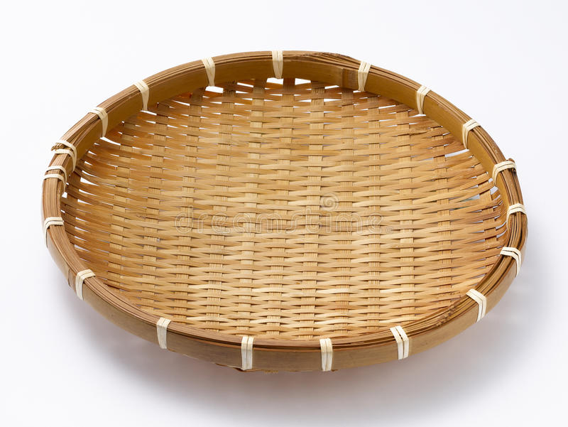 Bamboo sieves. A bamboo sieves in the white background stock photos
