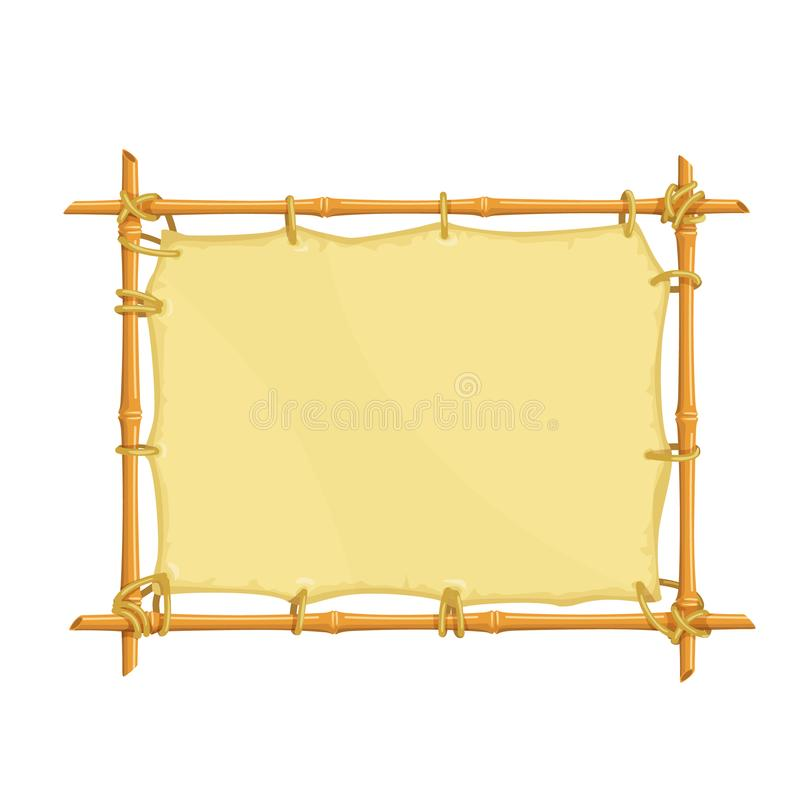 Bamboo signboard frame royalty free illustration