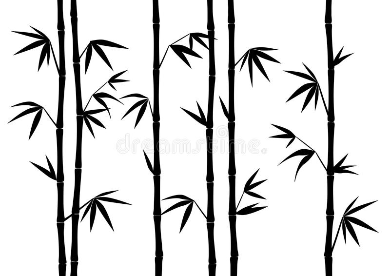 Bamboo Silhouette Exotic Illustration royalty free illustration