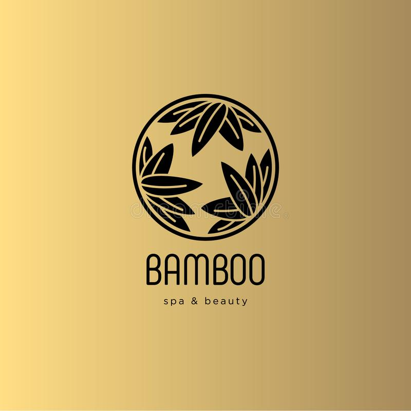 Bamboo spa salon logo. Spa emblem. Bamboo leaves in a circle with letters. Gold background. Floral elements vector illustration