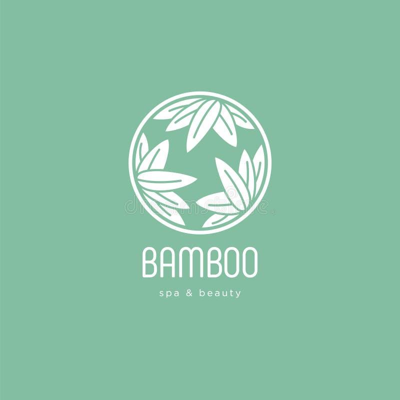 Bamboo spa salonembleem Kuuroordembleem Bamboebladeren in een cirkel met brieven royalty-vrije illustratie