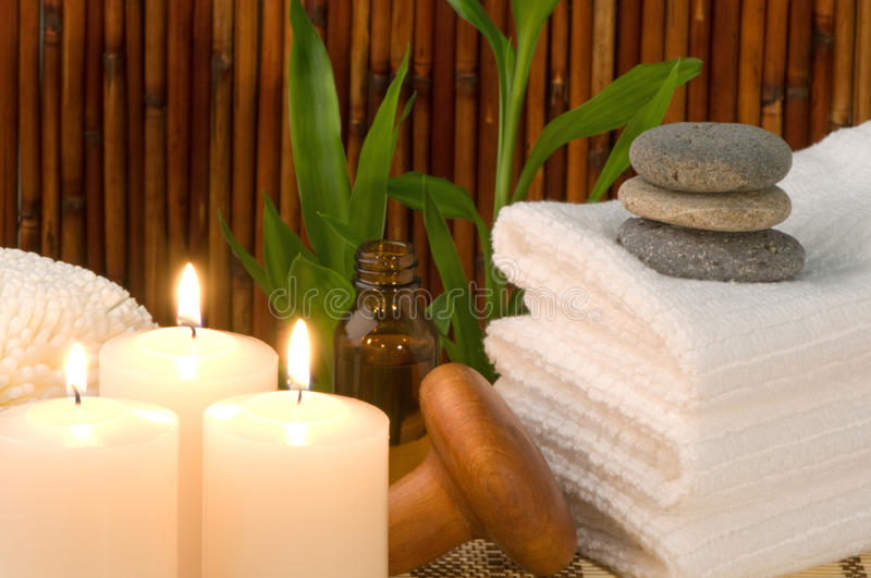 Bamboo Spa Scene With Candles stock photos