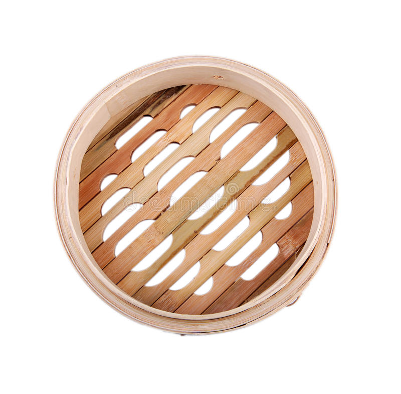 Bamboo steamer basket stock photo