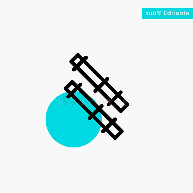 Bamboo, Stick turquoise highlight circle point Vector icon stock illustration