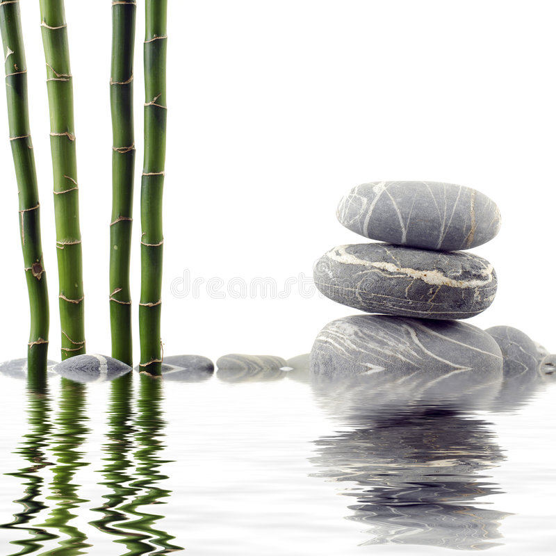 Bamboo and stone royalty free stock photos
